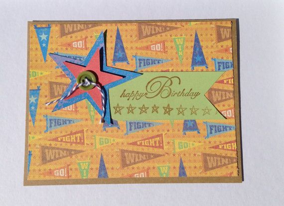 Sports Birthday Card Paper Handmade Greeting by byLisaCardsCrafts