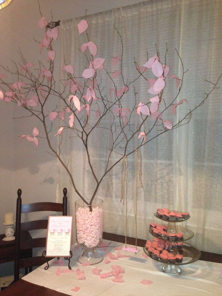 Baby shower decoration tree branch with streamer leaves