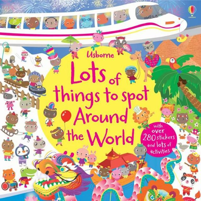 Usborne Lots Of Things To SpotEach book $11.90Usborne Lots of things to spot at school, world, town3 different books for the curious child!The busy pages in this colourful book show scenes from the school year, including playtime, in the classroom, the school show and sports day.Each double page is bursting with things to spot and talk about, simple games and puzzles, and over 200 stickers to complete the activities.