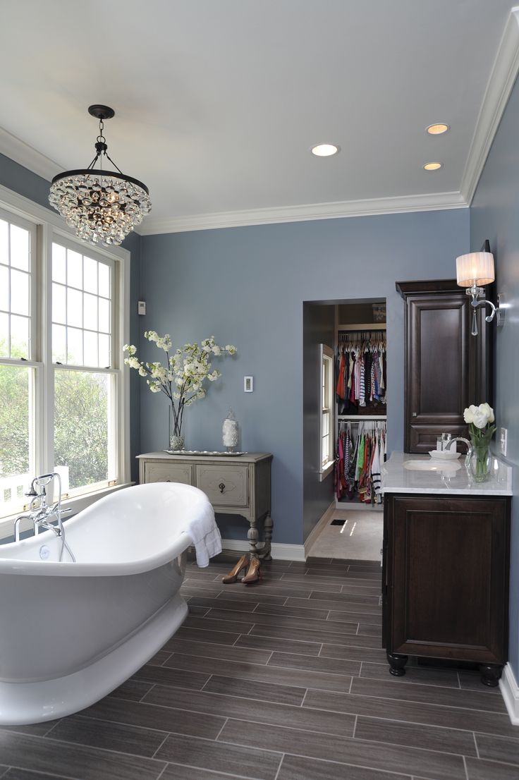 The Marlborough freestanding bath sits in this traditional master bathroom, designed by Dave Fox Design.