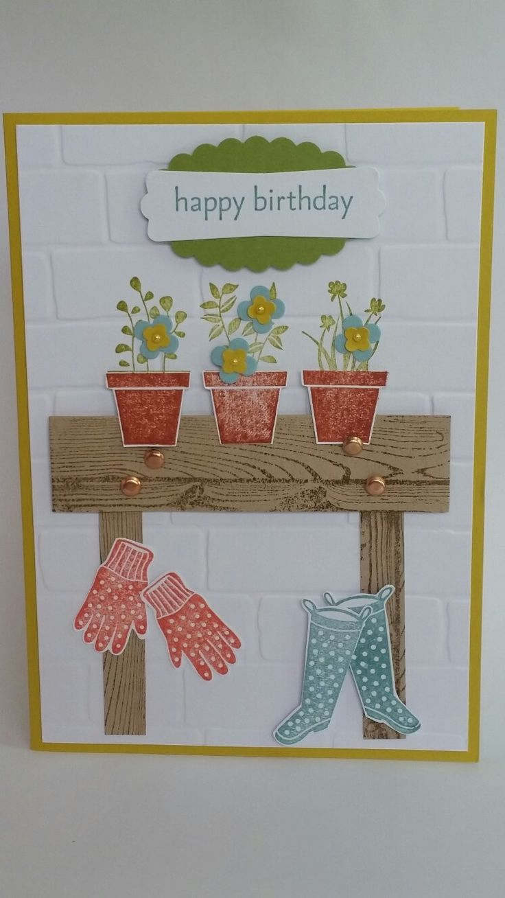 Happy birthday gardener bench on lucky limeade handmade card