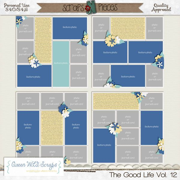 The Good Life Templates Vol. 12  http://bit.ly/QWS_TGL12snp #templates #projectlife #digitalscrapbooking #digiscrap #queenwildscraps