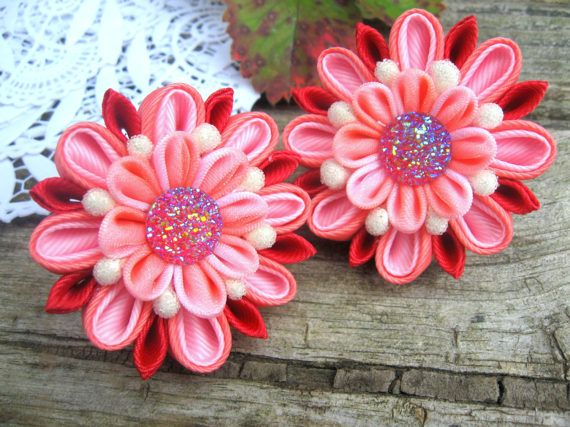 Pink red hair tie for pigtail Flower hair clip от SummerForYou