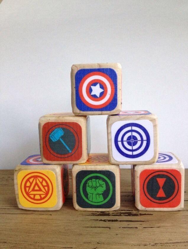 Avengers Nursery Baby Shower Blocks Gift Thor Ironman America Marvel