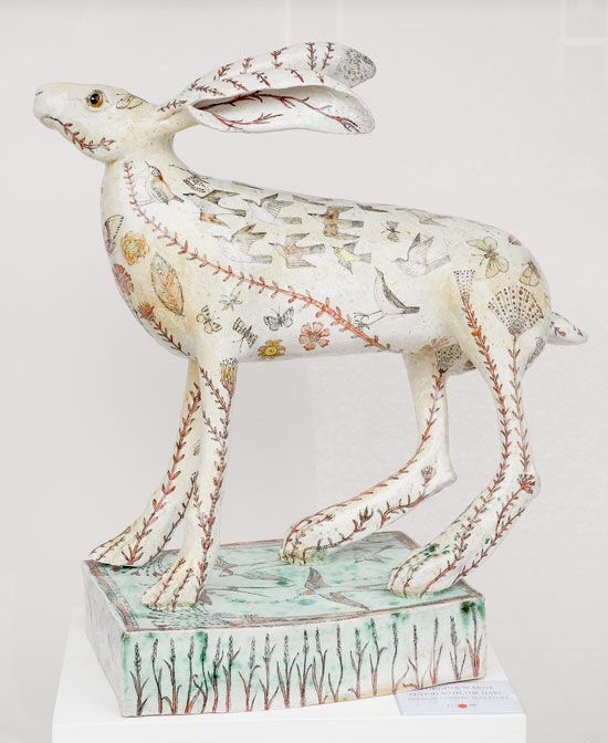 Ceramic hare with story by G Warne