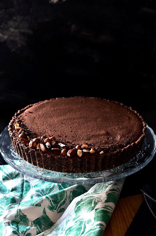 Salted Caramel & Dark Chocolate Mousse Tart   Almost Raw, Almost Guilt-free, Vegan & Gluten-free!