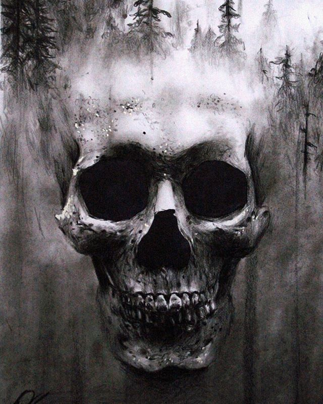 Here is my hyper realistic and surreal skull drawing with double exposure effect I did last year. I used only charcoal on smooth A4 paper.  Write in the comments below if you want others new surreal skull drawings