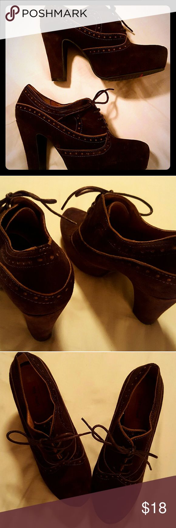 Brown suede oxfords Dark brown suede oxfords with a 4-inch platform heel. Great condition. Has a vintage feel. Comfortable and cute! Miz Mooz Shoes Platforms