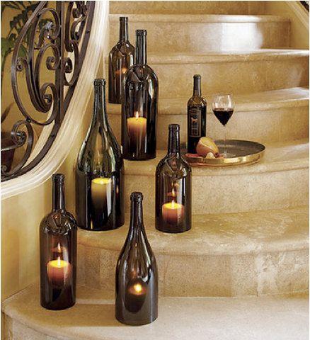 Wine Bottle Candle Holder /  Center piece by CedarWorkshop on Etsy, $19.00