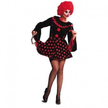 Disfraces Halloween mujer | Disfraz de payasa diabólica. Contiene falda con tirantes y blusa adornada con borlas y volantes. Talla M. 16,95€ #payasa #diabolica #payasadiabolica #disfrazpayasa #disfrazdiabolica #disfraz #halloween #disfrazhalloween #disfraces