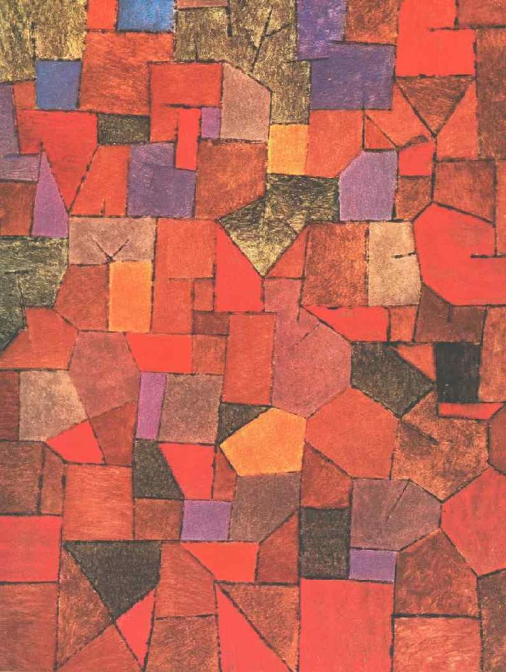 """Mountain Village (Autumnal),"" 1934, Paul Klee. Oil on panel; 54.4 x 71.5 cm. Galerie Rosengart."
