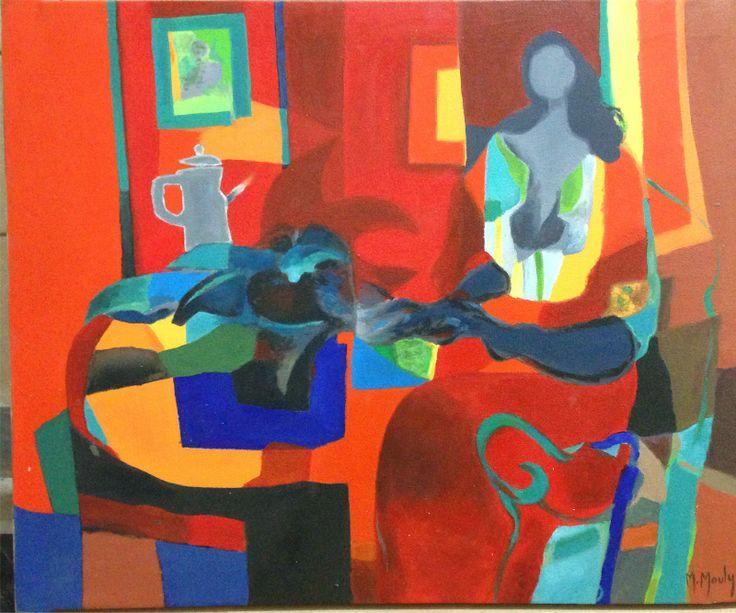 Modern Art: Marcel Mouly Lady in Red