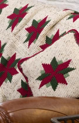 Christmas Star Throw and Pillow Free Crochet Pattern from Red Heart Yarns