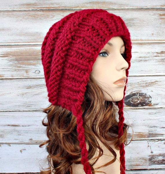 Knit Hat Womens Hat Ear Flap Hat Beanie Georgette by pixiebell