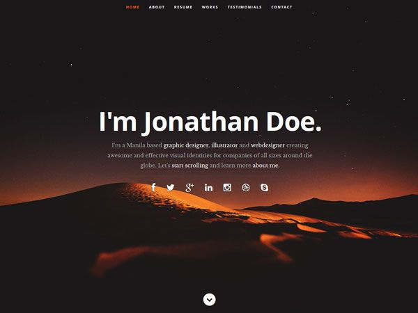 23 Free Personal vCard & Resume HTML Templates