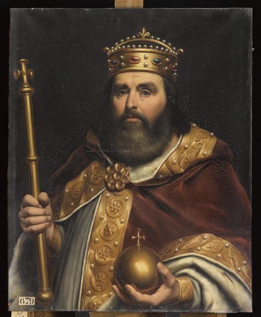 9) CHARLES III LE GROS: Réunion des Musées Nationaux-Grand Palais : Charles III, roi de France (839-888) dit Charles le Gros. Peinture à l'huile par AMIEL LOUIS-Félix (1802-1864) Huile sur toile HxL 0,9x0,72m. N) d'inventaire: MV 679 (localisation: Versailles).