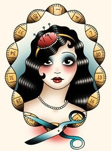 Angelique Houtkamp tattoo flash art  1920s Art Deco style seamstress with measuring tape and pincushion