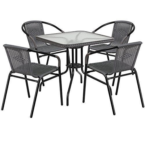 Square Patio Table Outdoor 5 Pcs Rattan Dinning Set Garden Yard Pool Chairs Gray #OutdoorDinningSet