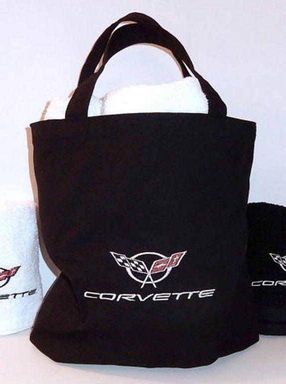 ce6ad9e4aa82 CORVETTE Tote Bag-machine embroidered grocery Bag-Cotton Bag-Corvette logo  -Carry All-Beach Travel B