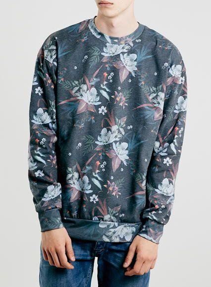 Multi-colour Moody Floral Sweatshirt - Sale- TOPMAN