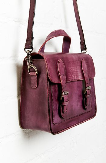 Jesslyn Blake Double Buckle Leather Messenger Bag in Purple | DAILYLOOK