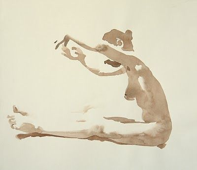 Wendy Artin. Marzia reaching, watercolor on paper