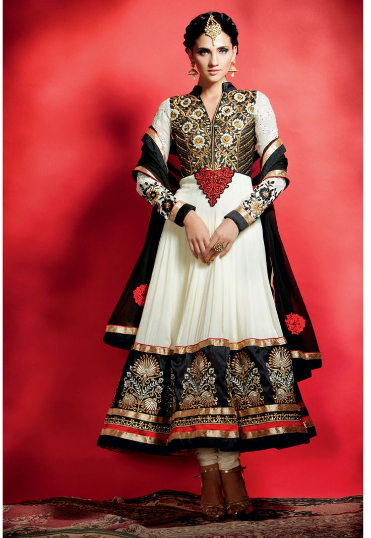 """Beautiful !""""Off white #Faux #georgette Kameez designed with Resham,Zari Stone And Patch Border Work. Available with Off white #Shantoon Bottom with matching Faux #chiffon Black Dupatta.  With exciting Flat 30% discount! INR :-6321"""