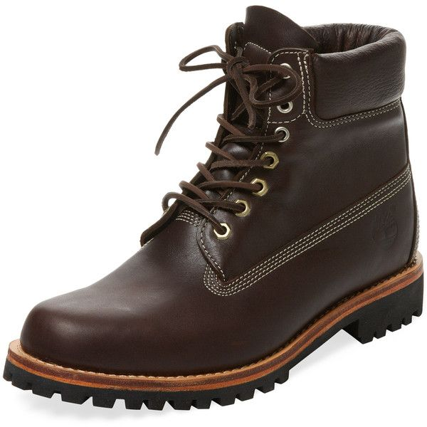 """Round toe boot  * Leather  * Lace-up vamp  * Contrast topstitching  * Padded collar  * Man-made outsole    Measurements:  Heel height 1.5"""", platform sole 0.75""""…"""