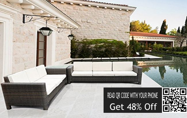Save Online Now: Save 48% on Rattan Garden Sofa Set Corner Furnitur...