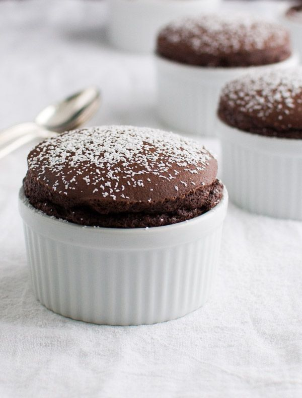 Chocolate souffl - rich, chocolaty and low-fat. With fewer than 130 calories per serving, you can have two desserts! | tamingofthespoon.com