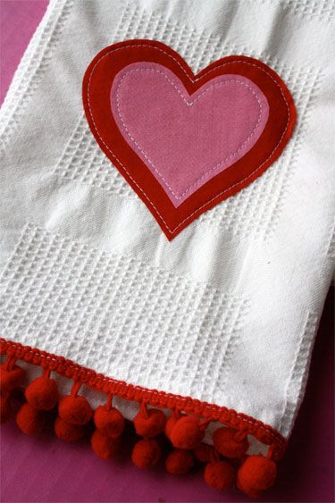 Simple Applique Towels for Valentine's Day