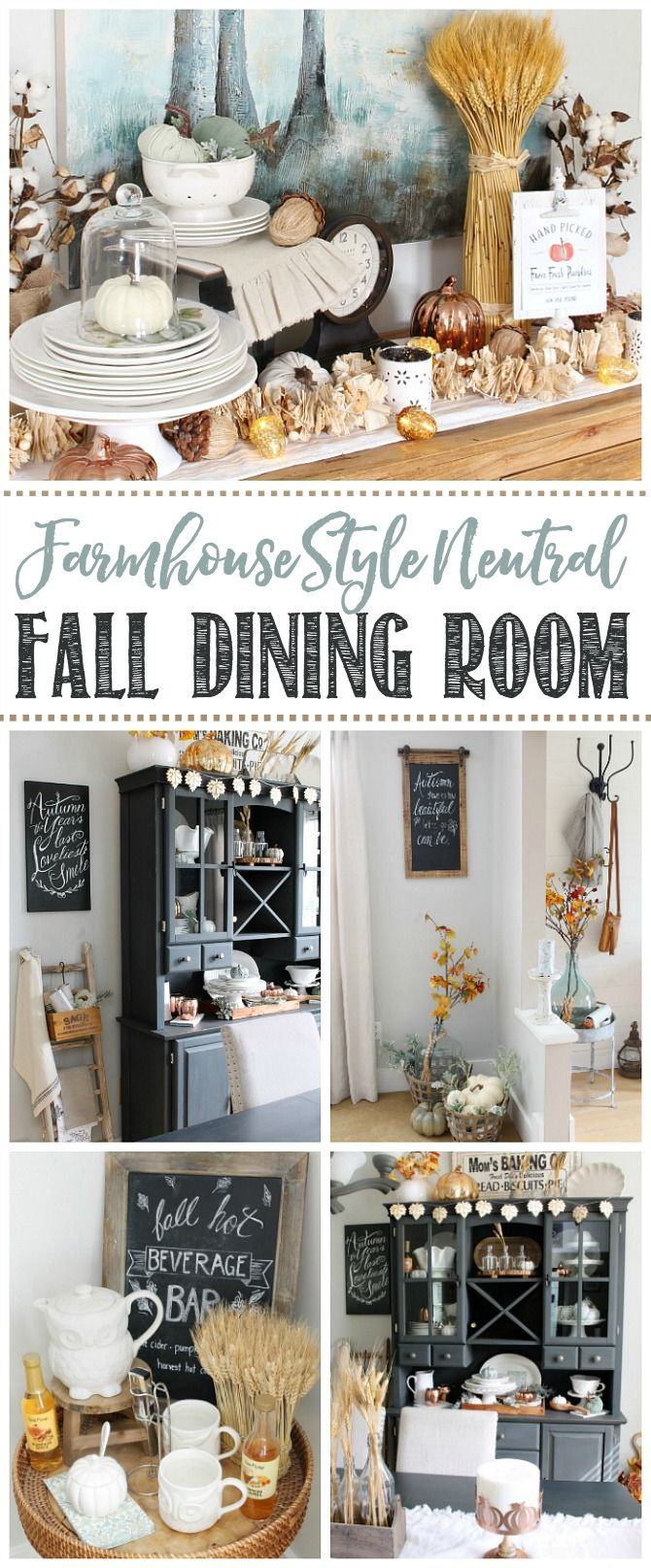 Farmhouse style fall dining room. Lots of fall decor inspiration using  neutrals and natural elements. #falldiningroom #diningroom #falldecor ...