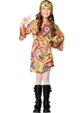 Girls Groovy Girl Hippie Costume-1920s - 1980s-Girls Costumes-Halloween Costumes-Party City