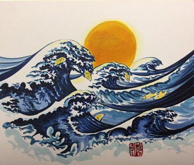 Fish in Hokusai Waves