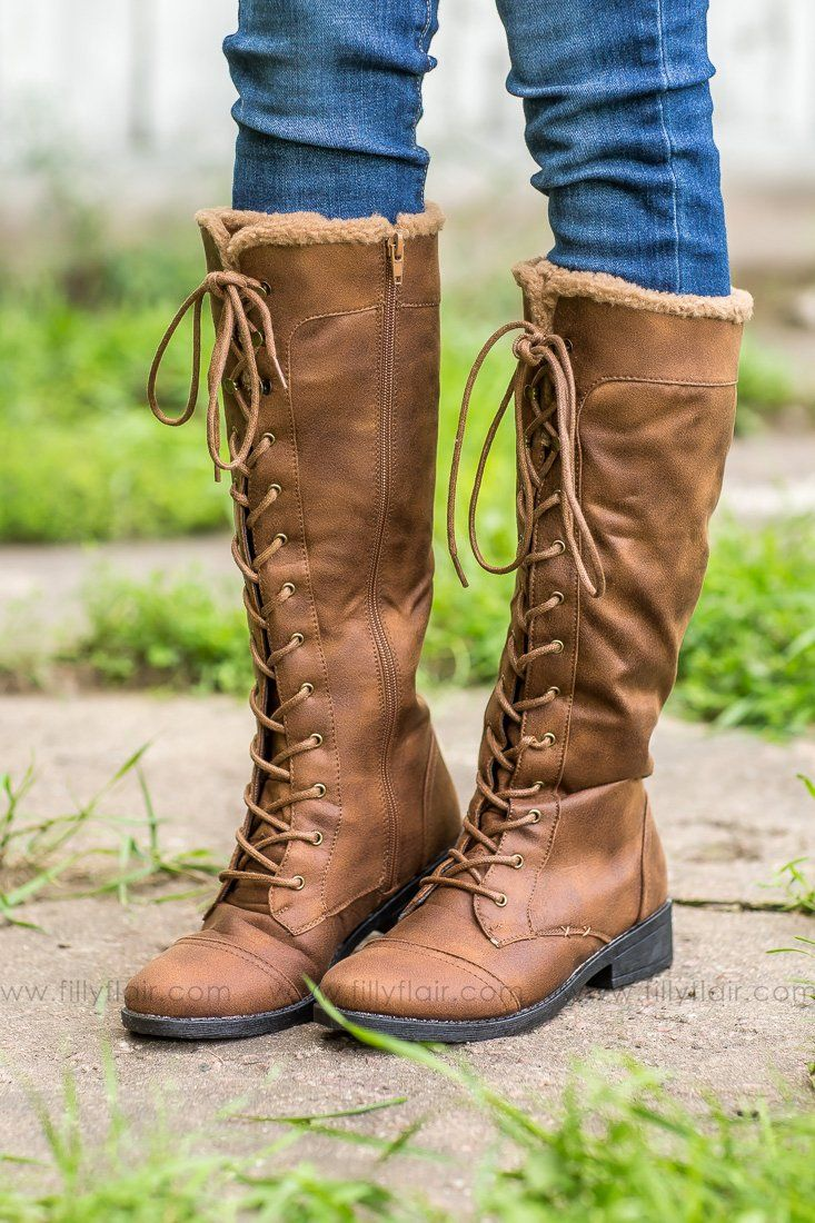 Plateau Tall Lace Up Boots In Camel