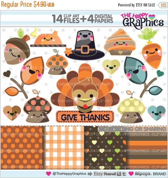 80%OFF - BIG SALE Thanksgiving Clipart, Thanksgiving Graphic, Commercial Use, Kawaii Clipart, Thanksgiving Party, Thanksgiving Celebration,