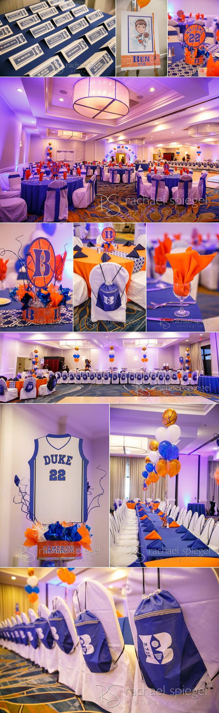 Our Bar Mitzvah Family were fans of the Duke Blue Devils. Logo design and event decor combined this with shout outs to Ben. Photos by Rachael Spiegel Photography