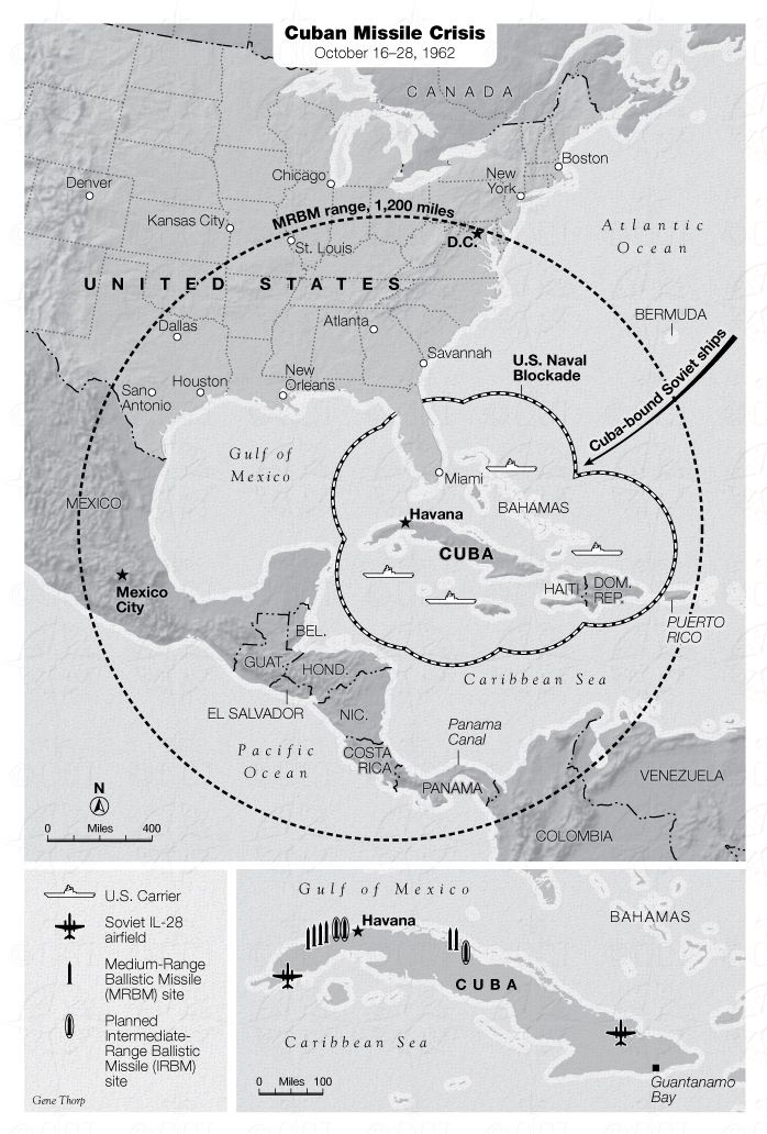 cuban missile crisis map large map shows range of russias intermediate range ballistic missiles irbms insert shows location of sites significant to