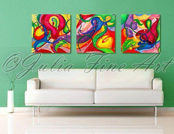 JuliaApostolova - Floral triptych painting #home #design #homedesign #painting #interior #art #sisustus #taide #taulu #sisustaminen #sisustusidea #interiordesign #inredning