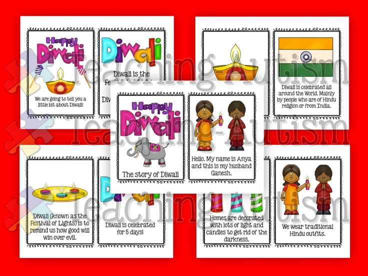 Diwali Story Flash Cards - VERY SIMPLE Diwali Kindergarten  This product is a VERY simplified story on Diwali. They come in flashcard size so you can either use as flashcards or put together as a small book. Only 17 pages/flashcards in total.  Lots of fun, bright clipart to keep students engaged.  Perfect for a special needs/autistic class or pre-k/k