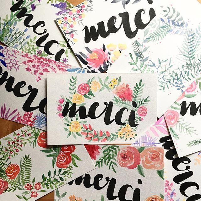 La totale des cartes de remerciements  #watercolor #aquarelle #flowers #florals #fleurs #merci #thankyou #remerciements #handwriting #calligraphy #illustration #flowerillustration #flowerpainting #watercolorflowers