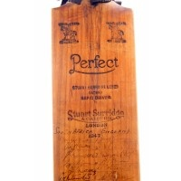Signed Cricket Bat England v South Africa 1947 and India 1952 autographed by over 124 First Class players