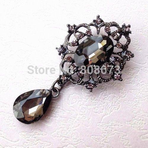 Черный цвет винтажный стиль черный кристаллов брошь пен горячая распродажа винтаж женская одежда протяжки булавки роскошные драгоценности пен