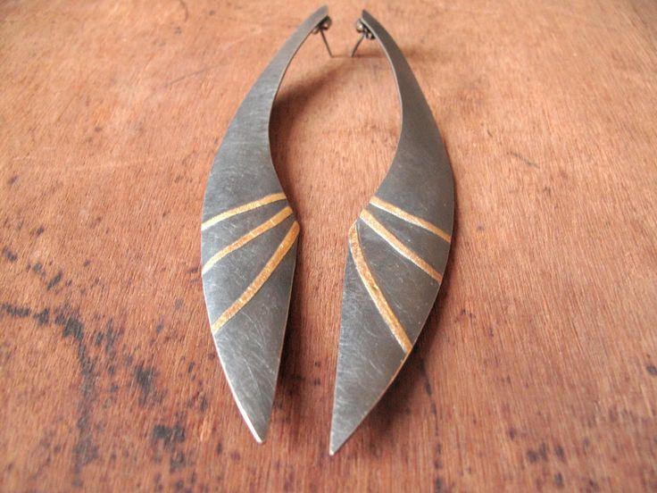 Earrings   Marta Sanchez Oms. Oxidized sterling silver,  24k gold