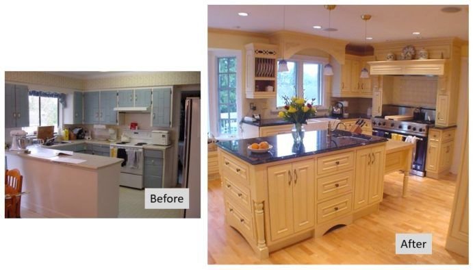 Original kitchen space is updated producing a stunning blue & yellow kitchen