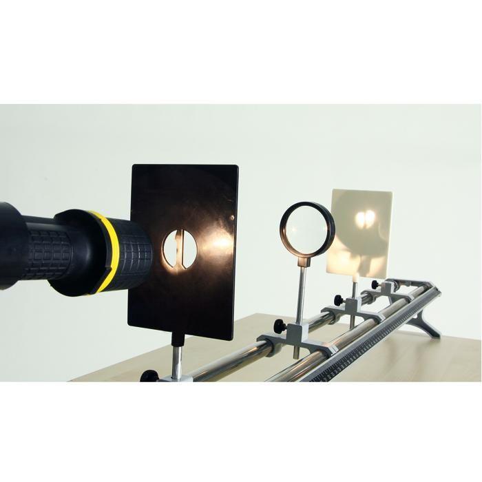 Optische Bank für Experimente mit Linsen   BACKWINKEL