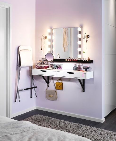 Re-think your space to furnish around your needs. Have a small bathroom? Create a makeup station into your bedroom! The ALEX shelves and MUSIK wall lamps from IKEA make a great morning makeover station. by holly