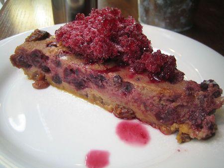 As a clafoutis: pudding blackcurrants, cassis granita juice