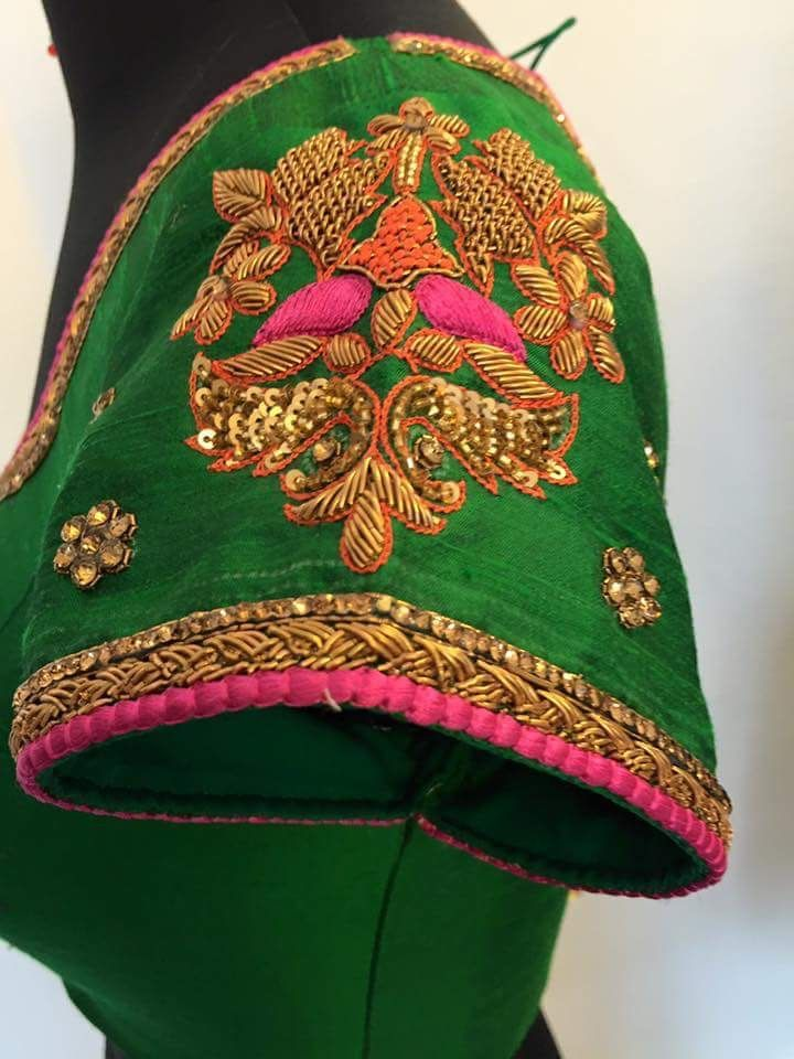 Green Blouse with Indian Embroidery