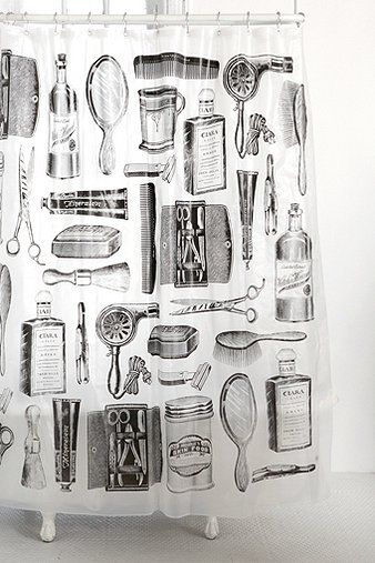 obsessed with this vintage shower curtain- UrbanOutfitters.com > Apothecary Shower Curtain